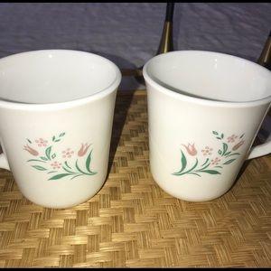 Corning Pink Flower Mug Pair